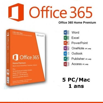MICROSOFT Office 365 home Premium Multi 5PC/MAC 1 an abonnement ELOGAD