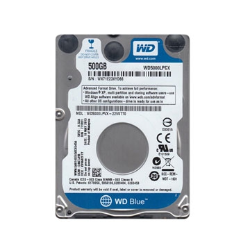 "HDD 500 Go 2.5"" SATA - Western Digital - BLUE - Vitesse de Rotation 5400 Rpm - Cache Mémoire 16 Mo - Épaisseur 7mm"