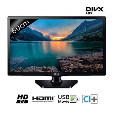 TELEVISEUR 24 Pouces LG - 24MT47DC-PZ - Noir - Ecran LED - 1366 x 768 (Format Wide) - Luminosité de 250 cd/m² - 1 Port HDMI - 1 Port USB en 2.0 - 1 Port SCART - 1 Entrée vidéo composite - Tuner TNT HD - Garantie 2 ans.