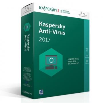 KASPERSKY ANTIVIRUS 2017 - 1 An / 3 Postes
