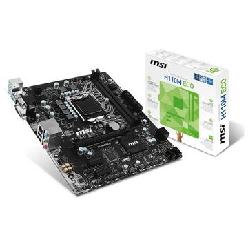 CM1151 MSI - H110M ECO - CARTE MERE MATX - 2 PORTS DDR4 - 1 PORT PCI-Ex16 - 2 PORTS PCI-Ex1 - 4 PORTS SATA3 - 4 PORTS USB 3 - 2 PORTS USB2.0 - HD AUDIO 7.1 - 1 PORT GB LAN - 1 PORT HDMI - 1 PORT DVI-D - 1 PORT VGA