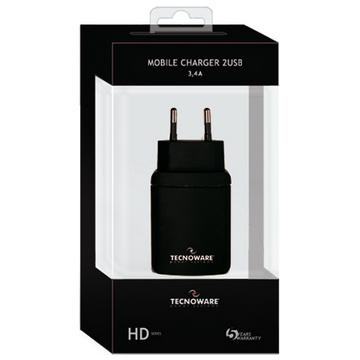 CHARGEUR MOBILE TECNOWARE HD 2 USB PORTS BLACK Garantie 5 ans