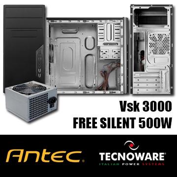 BUNDLE BOITIER MATX Antec VSK3000B Usb 3.0  + ALIMENTATION Tecnoware 500W