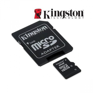 MICRO SD HC KINGSTON 8 Go - CL4 + ADAPT. SD - Taxe Sorecop Incluse