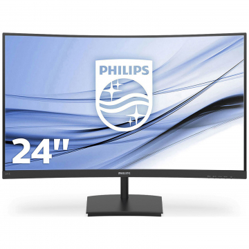 "Moniteur  24"" incurvé Philips 16:9 / 1920x1080 / 250cd / m² / 4ms / 3000:1 VA-VGA/HDMI - HP 2x3W - Inclinaison / Garantie 2 ans sur site"