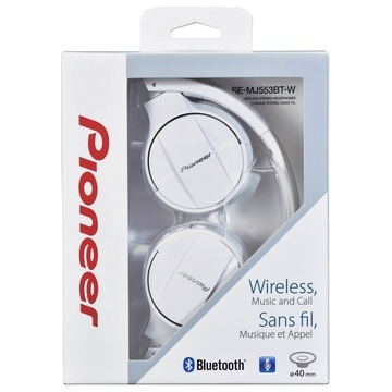 CASQUE BLUETOOTH PIONEER STEREO - BT 3.0 avec codec AAC • NFC • Fonction Control & Talk • HP 40mm • Autonomie 15h •  Casque pliable • ordon USB fourni - BLANC