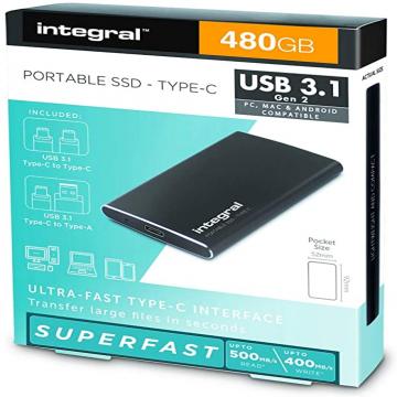 DISQUE SSD EXTERNE INTEGRAL 480GO USB 3.1  Type C PORTABLE