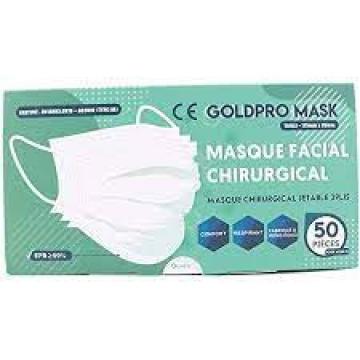 Masque Facial 3 plis non médical Boite de 50 Pieces MMP3