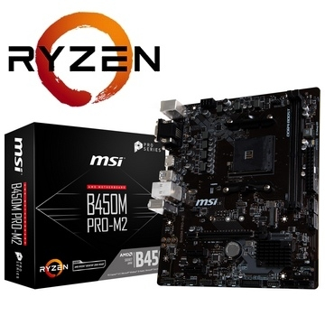 CM AM4 RYZEN MSI B450M PRO-M2 AMD B450 - 4x DDR4 - SATA 6Gb/s + M.2 - USB 3.0 - 1x PCI-Express 3.0 16x