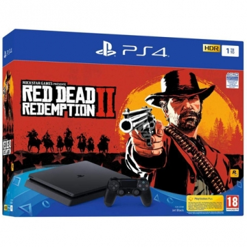 CONSOLE PS4 slim 1To e black + red dead redemption 2