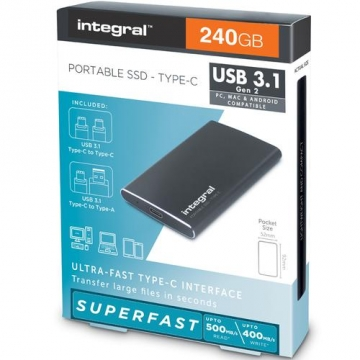 DISQUE SSD EXTERNE INTEGRAL 240GO USB 3.1  Type C PORTABLE