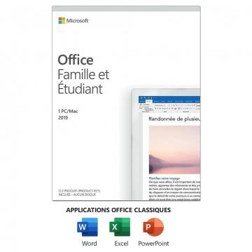 MICROSOFT Office Famille Etudiant 2019 (Version Française)