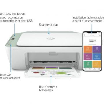 HP Deskjet 2722e All-in-One - Imprimante multifonctions - couleur - jet d'encre - 216 x 297 mm (original) - A4/Legal (support) - jusqu'à 6 ppm (copie) - jusqu'à 7.5 ppm (impression) - 60 feuilles